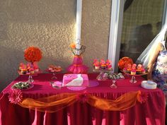 Hot Pink & Orange Decor that I did for my Daughters Bridal Shower   DIY Cake Plates made from the Thrift Store Orange Plates were White sprayed them Orange to match Decor!!! The Clear Plates were also purchased from the Thrift Store put to gather All with E-6000 glue.