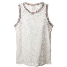 Luxury Fashion Rib Trim Lace Tank Top