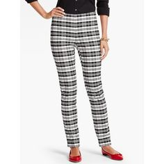 Talbots Women's Sutton Plaid Tailored Ankle Pant ($80) via Polyvore featuring pants, capris, short pants, petite ankle jeans, petite white pants, plaid pants and petite ankle pants