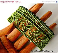 This green micro macrame cuff is my newest original design and features a leafy pattern running the length of the bracelet accented with rows of Macrame Earrings, Macrame Bracelets, Macrame Jewelry Tutorial, Macrame Design, Macrame Projects, Bijoux Diy, Thread Crochet, Beads And Wire, Beaded Embroidery