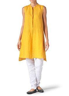 Vivid Linen Sleeveless A-line Long Tunic at Amazon Women's Clothing store: Tunic Shirts