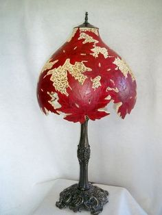 A lamp made from a gourd! I don't think this would be too easy for me, lol