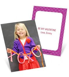 You can be sure no one else in your child's classroom will show up with these Valentine's Day cards for kids! With your child's photo on the front and a personal Valentine's Day greeting on the back, these cards are perfect for handing out to friends at school.