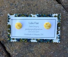 Yellow Floral Fabric Earrings by JamieGregoryHandmade on Etsy