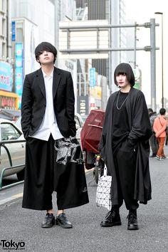 "Tokyo Fashion on Twitter: ""Monochrome minimalist Harajuku duo in styles by Yohji Yamamoto, Lad Musician, Issey Miyake & Dr. Martens #原宿 https://t.co/nvRIA7VK6u https://t.co/OYABFzL2vS"""