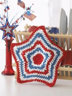 Stripey Star Dishcloth | Yarn | Free Knitting Patterns | Crochet Patterns | Yarnspirations