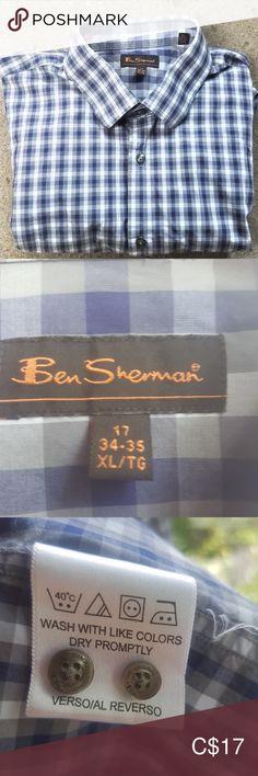 BEN SHERMAN Gingham Dress Shirt - Material: cotton Machine Wash 2 Spare buttons Button cuff In great condition Ben Sherman Shirts Dress Shirts Slim Fit Dress Shirts, Slim Fit Dresses, Fitted Dress Shirts, Blue Shirt Dress, Gingham Dress, Long Sleeve Shirt Dress, Blue And White Shirt, Ben Sherman, Button Up Dress