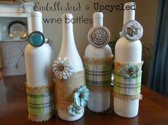 embellished upcycled wine bottles, crafts, repurposing upcycling