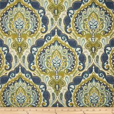 Hamilton Prussic Jacquard Indigo from @fabricdotcom  Refresh and modernize any home decor with this very heavyweight jacquard upholstery fabric. This fabric is a perfect weight for accent pillows, upholstering furniture, headboards, poufs and ottomans. Colors include blue, aqua, citrine, green and white.