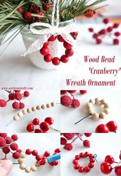 How To Make A DIY Faux Cranberry Wreath Ornament With Wooden Beads Christmas Crafts For Gifts, Beaded Christmas Ornaments, Homemade Christmas, Christmas Projects, Christmas Holidays, Christmas Decorations, Glitter Ornaments, Diy Ornaments, Felt Christmas