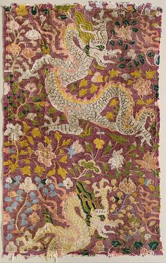 11-12th c. Tang dynasty silk tapestry with Dragons and Flowers - Met Museum