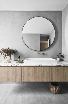 This modern beach house in Bondi boasts concrete floors, exposed brick wall and . - This modern beach house in Bondi boasts concrete floors, exposed brick wall and timber finishes to - Bad Inspiration, Decoration Inspiration, Bathroom Inspiration, Decor Ideas, Neoclassical Interior, Bathroom Layout, Bathroom Interior Design, Bathroom Ideas, Bathroom Organization