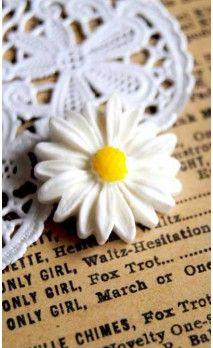 Paquerette résine blanche pour bijoux et scrapbooking