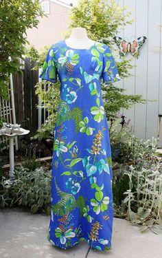 4763937c3 1970's Blue Floral Hawaiian Dress Size 14 Short Sleeves Empire Waist Aloha  Luau Hawaii Islands Green White Aqua