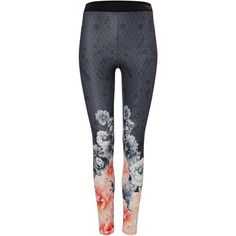 Ted Baker Monorose Border Legging ($120) ❤ liked on Polyvore featuring pants, black, sport & fitness and ted baker