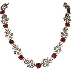 Antique Georgian Paste Necklace - Ruby Paste and White Paste Riviere Circa 1780
