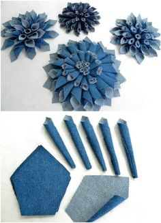 Terrific Photos 74 great DIY ideas to recycle old jeans - best decorating ideas Suggestions I enjoy Jeans ! And even more I love to sew my very own Jeans. Next Jeans Sew Along I'm likely t Denim Flowers, Cloth Flowers, Fabric Flowers, Leather Flowers, Fresh Flowers, Jean Crafts, Denim Crafts, Diy Jeans, Diy Denim Purse