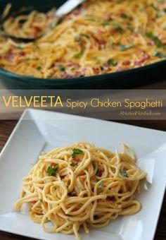 VELVEETA Spicy Chicken Spaghetti | ANutinaNutshell.com | #velveeta #pasta #KraftRecipes