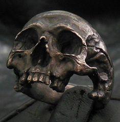 Skull ring Standard decayed half jaw silver mens skull biker masonic rock n roll handmade jewelry .925 etsy