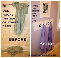 Swap out the towel bar for hooks hung low enough for kids to reach.