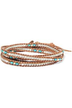 Chan Luu Chan Luu Woman 18-karat Rose Gold-plated Beaded Leather Bracelet Brown Size wSAz6Ugiz