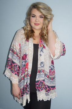 Plus Size Clothing for Women - Floral Cardigan for Learning To Be Fearless (Sizes 18 - 26) - Society+ - Society Plus - Buy Online Now!