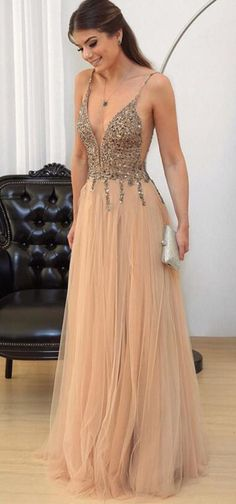 A-line Tulle Prom Dress,Beaded Prom Dresses ,Champagne Long Evening Dresses Deep V Neck Formal Gowns Sexy Spaghetti Straps Party Pageant Dresses