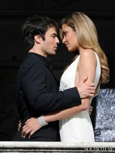 Ian Somerhalder and Ana Beatriz Barros are on the set of the Azzaro perfume campaigne in the Como Lake, Italy. July 03, 2013.