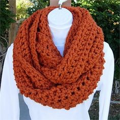 Large  Bulky Pumpkin Orange INFINITY LOOP COWL SCARF, 62 x 9   Soft, Warm, and Thick Infinity Scarf hand-crocheted with a high quality acrylic/wool blend yarn. Even though the yarn is categorized as Super Bulky, its very lightweight. Since this yarn has such a thick strand, it makes fun  beautiful jumbo-size stitches.   After so many requests for larger scarves, Im finally making one with the Wool-Ease yarn that I so often use in my shop. This one is twice as wide as my regular Wool-Ease…