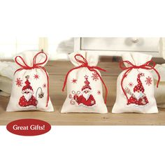 Christmas Gnomes Sachet Set - Cross Stitch, Needlepoint, Stitchery, and Embroidery Kits, Projects, and Needlecraft Tools | Stitchery