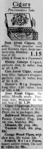 Cigar ads, Chicago Tribune, 1927 #kasaysayan