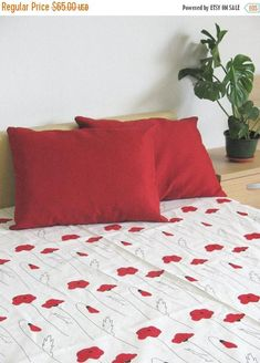 Bed Linen Sheet Eco Friendly Black Red Poppy 87 X