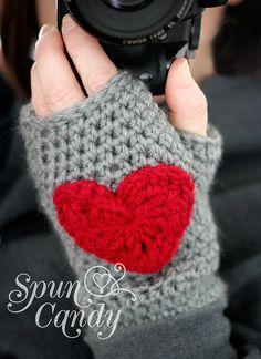 Crochet Heart Fingerless Gloves