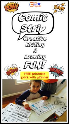 To add some learning fun to our homeschool writing time, I created these printable Comic Strips Pack.  My boys (who typically do not like writing) have spent hours creating stories, characters, and cartoons.  Come check it out & get your Comic Strips Printable Pack!  Includes blank comic strip template, expressions, symbols, and comic strip planner.