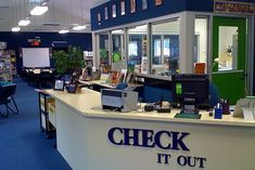 Check it out. Signage for the circulation desk. Love how it stands out.