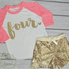 4 Year Old Birthday Shirts 4th Birthday Shirt Outfit Set with Shorts Trendy Toddler Girl Gold Four Outfit Gold Sequin Shorts Kids Birthday Outfit
