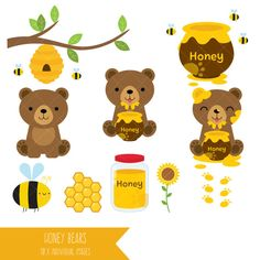 Honey Bears Clipart / Honey Jar / Honey Pot / Bee Hive