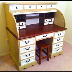 Roll top desk restoration - I like the idea of a little stoll that can be hidden versus a huge computer chair....