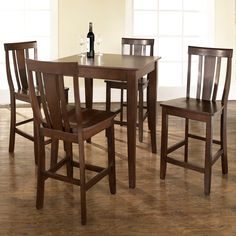5-Piece Pub Dining Set with Cabriole Leg and Shield Back Stools