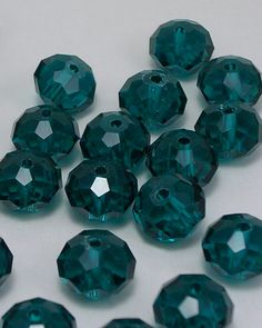 Malachite Green Glass Beads Faceted