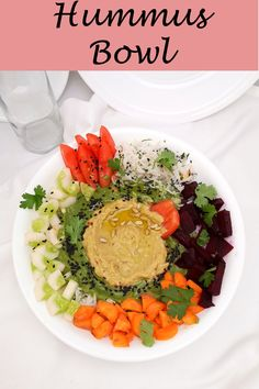 This colorful Hummus Bowl is healthy, vegan, nutritious, and protein-rich. This Mediterranean bowl is easy, can be made in a jiffy. #hummus #hummus-bowl #hummusbowl #hummusrecipes #hummus-recipes #hummusbowl #vegetarian-recipes #vegetarian-hummus