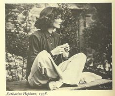 Katherine Hepburn knitting.  This makes me the happiest knitter of them all!