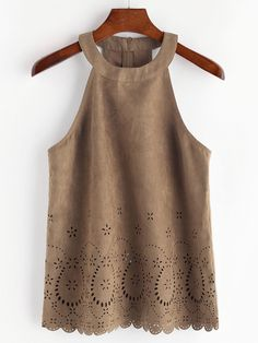 Shop Laser Cut Scallop Hem Zip Back Suede Halter Top online. SheIn offers Laser Cut Scallop Hem Zip Back Suede Halter Top & more to fit your fashionable needs. Rodeo Outfits, Date Outfits, Western Outfits, Summer Outfits, Fashion Outfits, Womens Fashion, Cami Tops, Mode Top, Mode Style