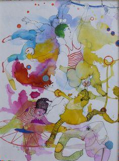 Cirkus, akvarel,tush, by Sofi Storm