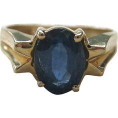 14K Gold Sapphire Ring Modernist Design - found at www.rubylane.com @rubylanecom