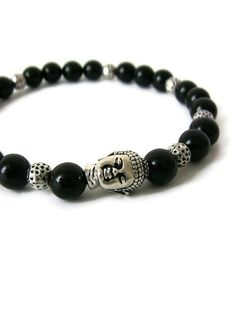 Buddha Bracelet Men's Jewelry Bracelet Silver and by lefrenchgem
