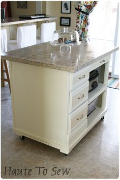 Kitchen island made from an  old hutch