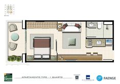 Planta BL. J Tipo - 01 Quarto com terraço, com 32,66m² Studio Type Apartment, Studio Apartment Floor Plans, Tiny Studio Apartments, Minimal House Design, Minimal Home, Sims House Plans, Small House Plans, Loft Floor Plans, House Floor Plans
