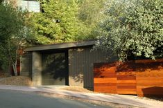 garage and wood privacy fence