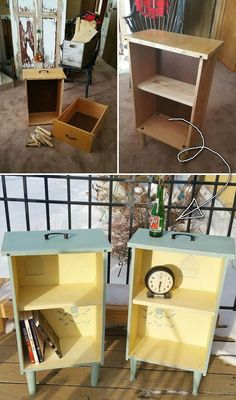 DIY Upcycled Drawer Side Tables Instruction - Practical Ways to Recycle Old Draw. - DIY Upcycled Drawer Side Tables Instruction – Practical Ways to Recycle Old Drawers for Home Refurbished Furniture, Repurposed Furniture, Furniture Makeover, Painted Furniture, Antique Furniture, Rustic Furniture, Modern Furniture, Street Furniture, Furniture Design